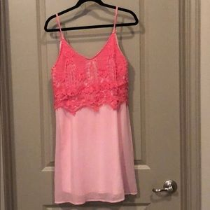 Charming Charlie's pink dress w/ crochet detail.